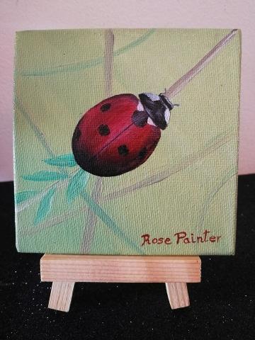 Mini Lienzo Mariquita - Pintura al óleo