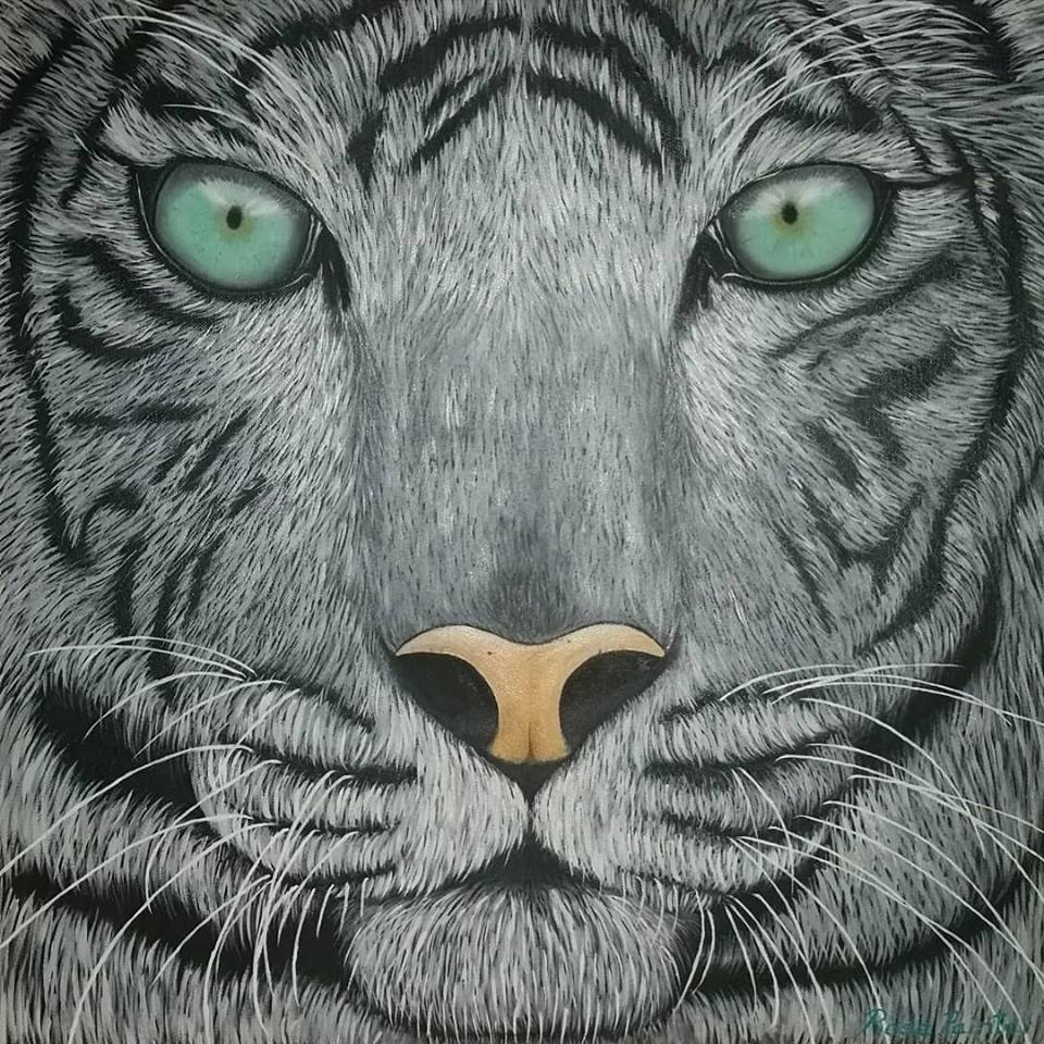 Tigre blanco - oil painting